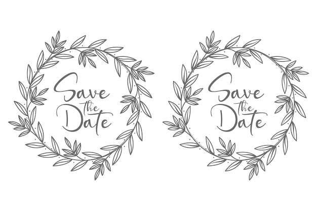 Floral wedding badges monogram with branches of flowers for decoration