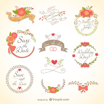 Floral wedding badges Free Vector