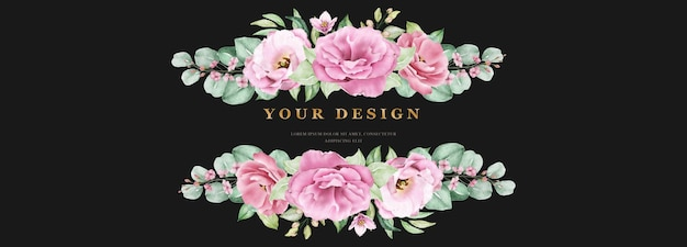 Floral wedding banner template set with pink roses flowers and leaves