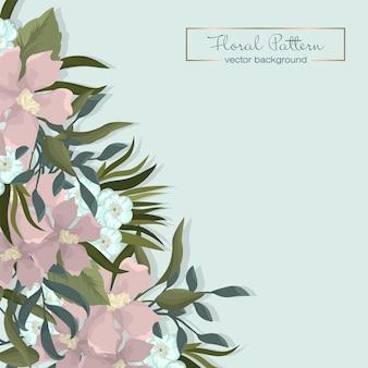 Цветочная свадебная рамка с красивыми цветами