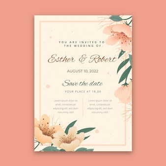 Floral wedding card concept