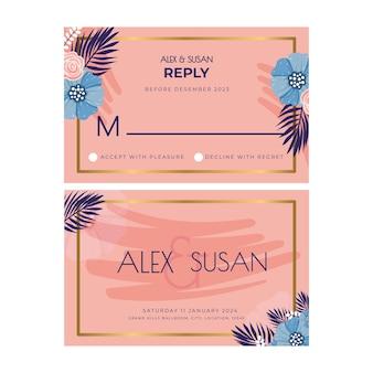 花のウェディングカードのデザイン