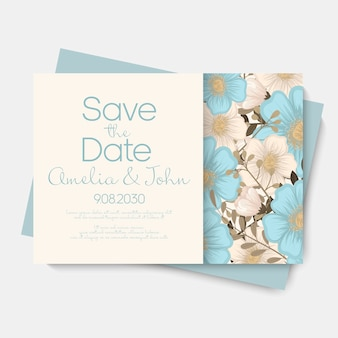 Floral wedding card invitation.