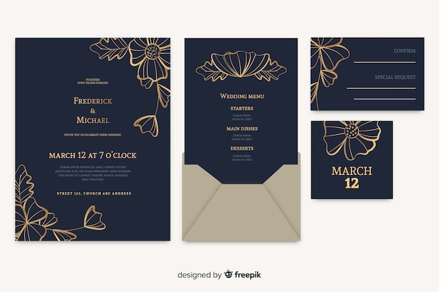 Floral wedding card invitation