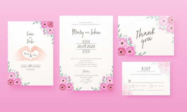 Floral wedding card  like as save the date, venue, thank you and rsvp.