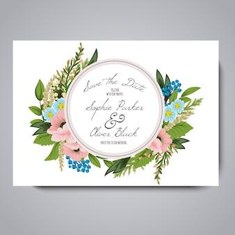 白い背景に花のウェディングカード