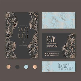 꽃 웨딩 카드 세트