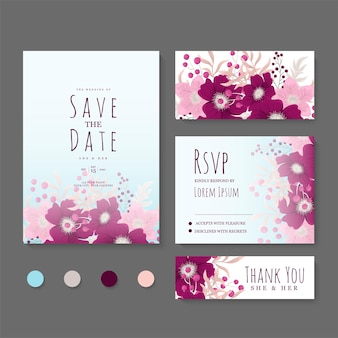Insieme floreale della carta di nozze