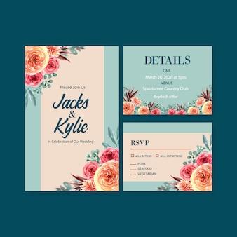 Набор цветочных свадебных открыток