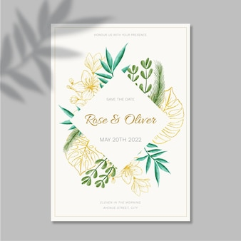 Floral wedding card template design