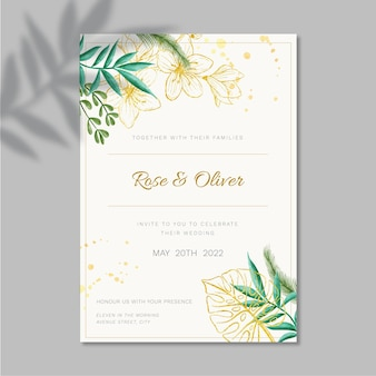 Floral wedding card template design