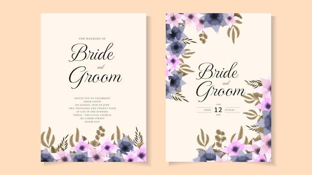 Цветочный шаблон свадебной открытки цветы ботаническое приглашение сохранить дату rsvp