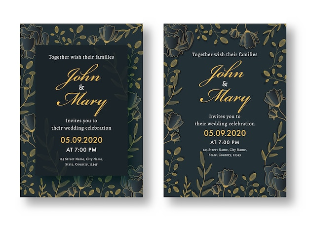 Floral wedding card, template or flyer design set with venue details.