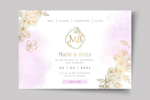 Floral wedding card template landing page