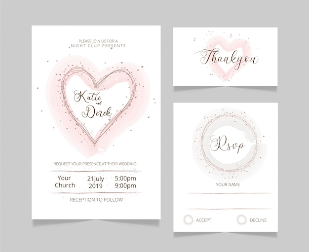 Floral wedding card template rsvp and thankyou card