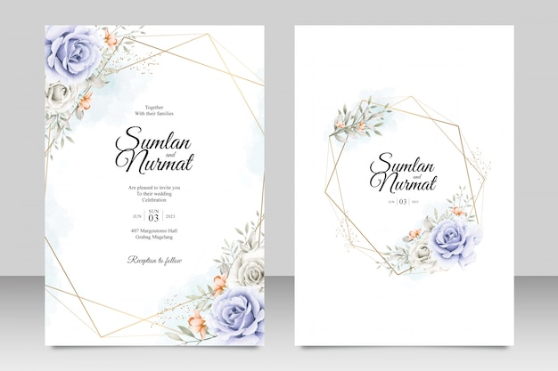 Floral wedding card template with golden frame geometrics