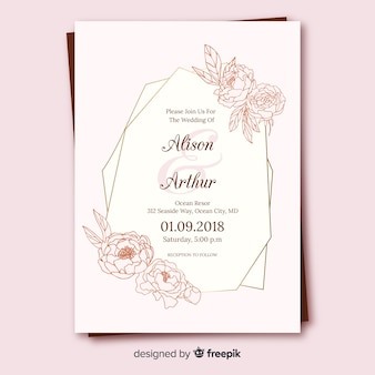 Floral wedding card template with golden frame
