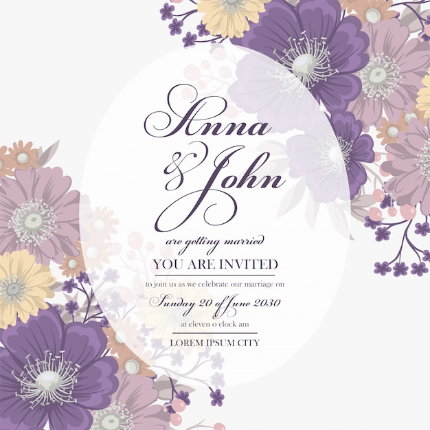 Floral wedding card template with purple flower