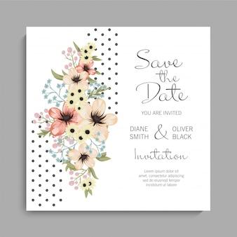 Цветочный шаблон свадебной открытки с желтыми цветами