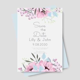 Modello di carta di nozze floreale