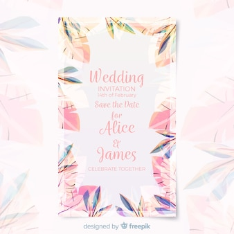 Floral wedding card template