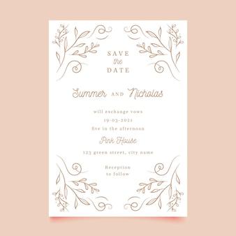 Цветочный шаблон свадебной открытки