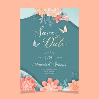 Modello di carta di matrimonio floreale