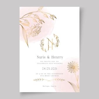 花のウェディングカードテンプレート