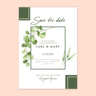 Цветочный шаблон свадебной открытки Бесплатные векторы