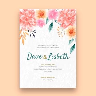 花のウェディング カード テンプレート