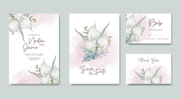 Цветочная свадебная открытка акварель шаблон