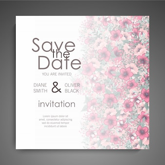 Floral wedding card with colorful flower
