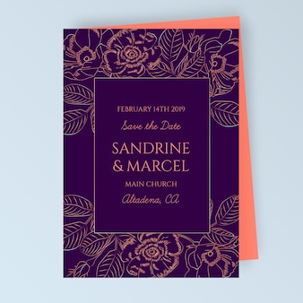 Floral wedding card with floral decoration