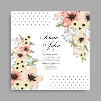 Floral wedding card with yellow flowers