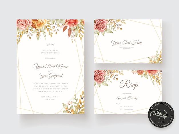 Цветочная свадебная открытка