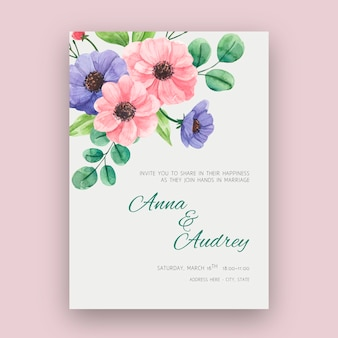 Floral wedding card