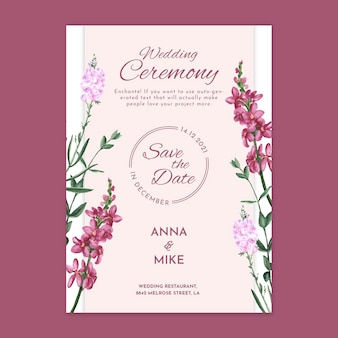 Floral wedding ceremony card
