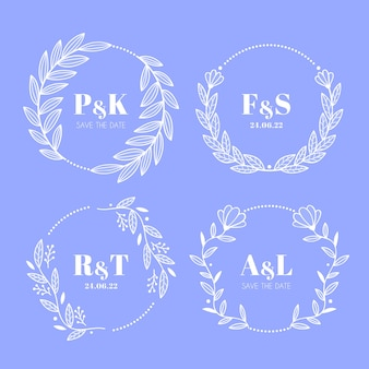Floral wedding collection logos