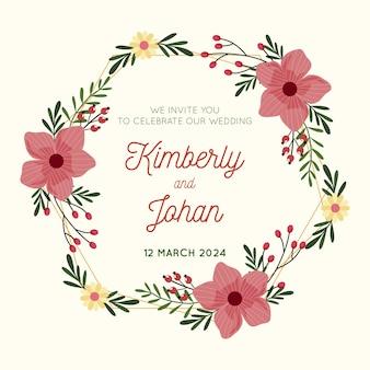 Floral wedding frame template