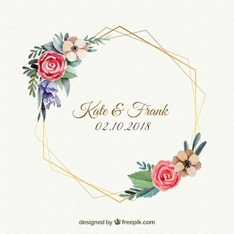 Floral wedding frame template