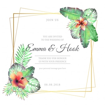 Floral Wedding Frame with Tropical Flowers