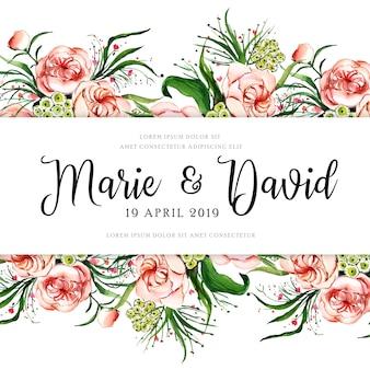 花の結婚式のフレーム
