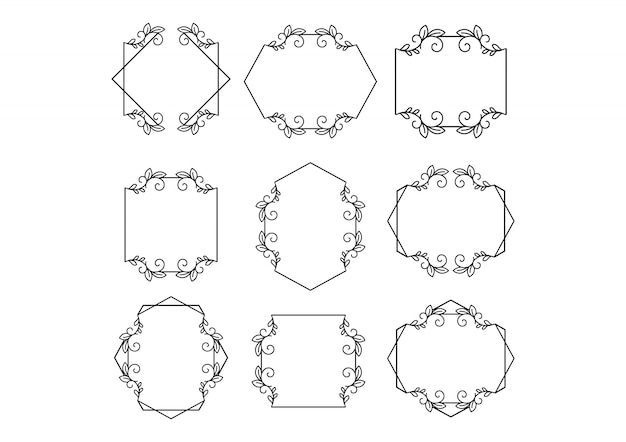 Floral wedding frameminimalist templates collection