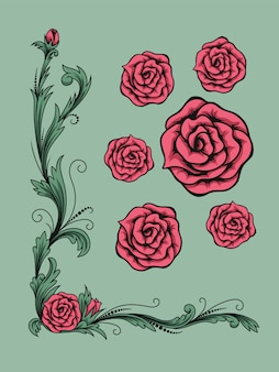 Floral wedding or greeting card with bouquet of roses