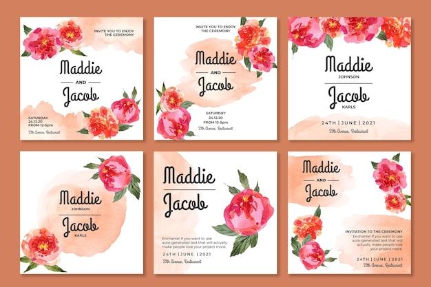 Collezione di post di matrimonio floreale su instagram