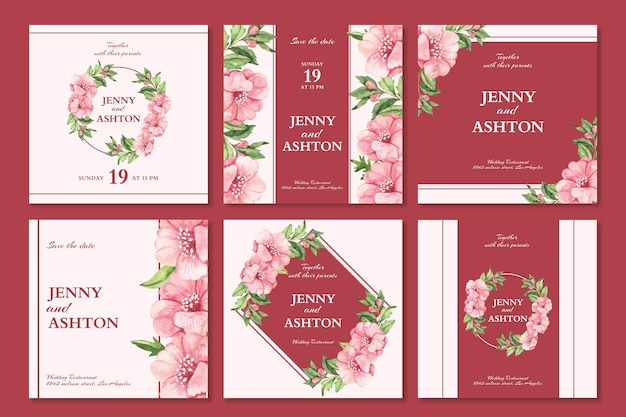 Floral wedding instagram posts set