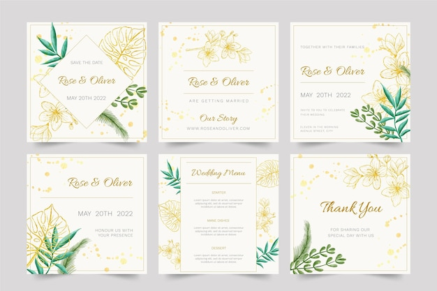 Floreale matrimonio instagram post template design