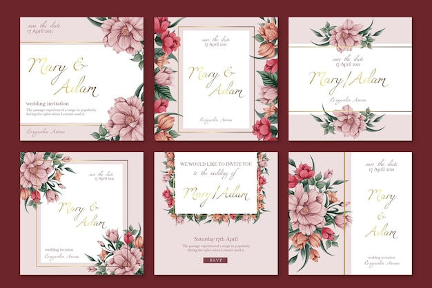 Floral wedding instagram posts template