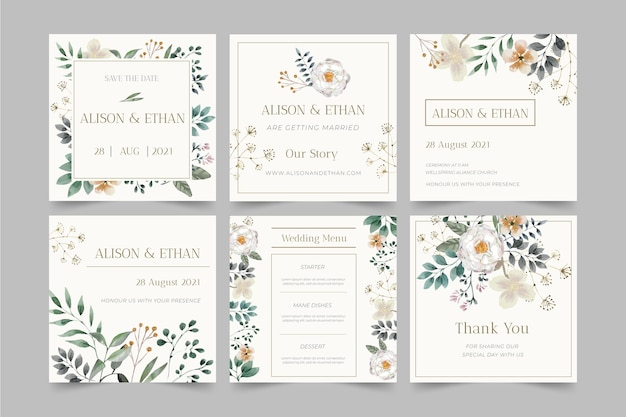 Floral wedding instagram posts