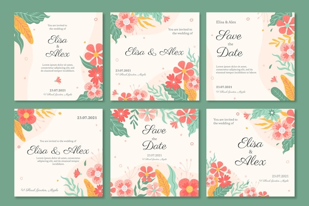 花の結婚式のインスタグラムの投稿